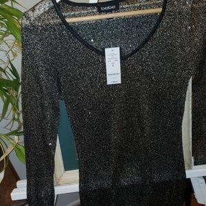 Bebe sequins HI-low Shirt